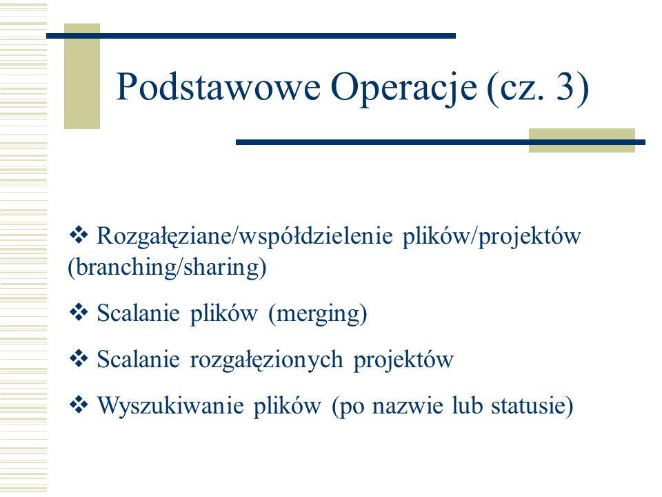 Podstawowe Operacje (cz. 3) Rozgałęziane/współdzielenie plików/projektów (branching/sharing) Scalanie plików (merging) Scalanie rozgałęzionych projekt