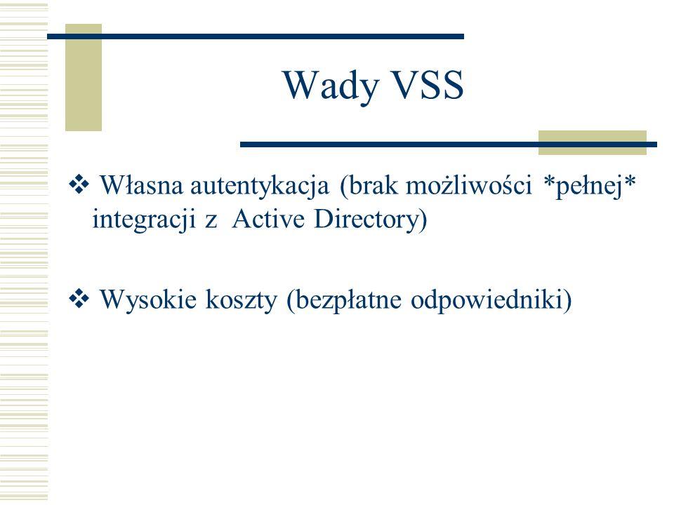 Wady VSS Własna autentykacja (brak możliwości *pełnej* integracji z Active Directory) Wysokie koszty (bezpłatne odpowiedniki)