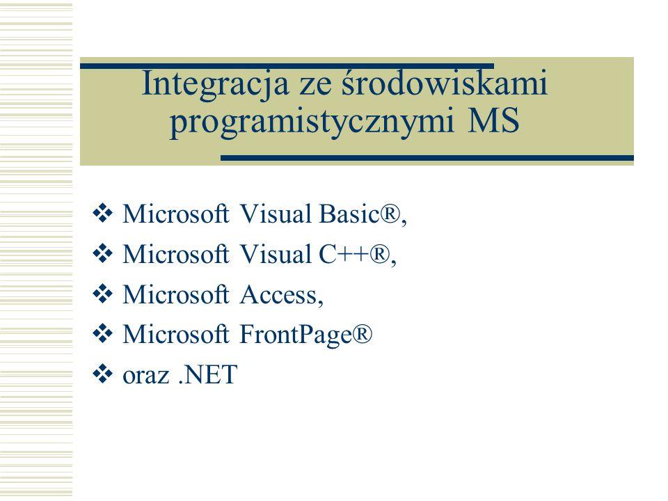 Microsoft Visual Basic®, Microsoft Visual C++®, Microsoft Access, Microsoft FrontPage® oraz.NET Integracja ze środowiskami programistycznymi MS