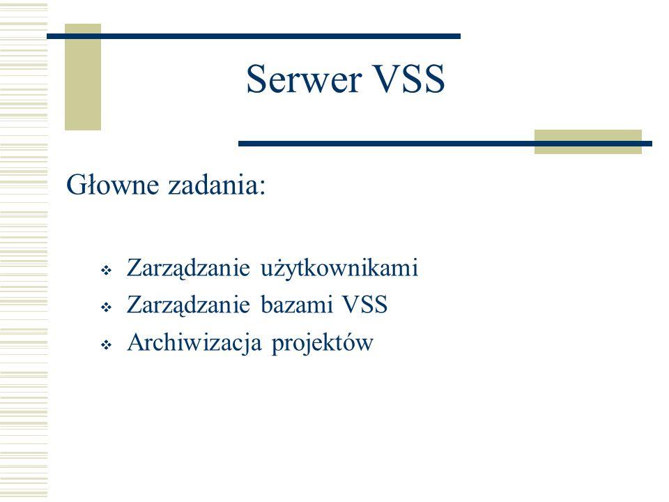 Serwer VSS Głowne zadania: Zarządzanie użytkownikami Zarządzanie bazami VSS Archiwizacja projektów