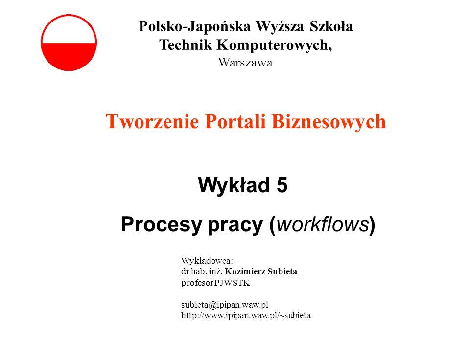 Tworzenie Portali Biznesowych Wykład 5 Procesy pracy (workflows) Polsko-Japońska Wyższa Szkoła Technik Komputerowych, Warszawa Wykładowca: dr hab. inż