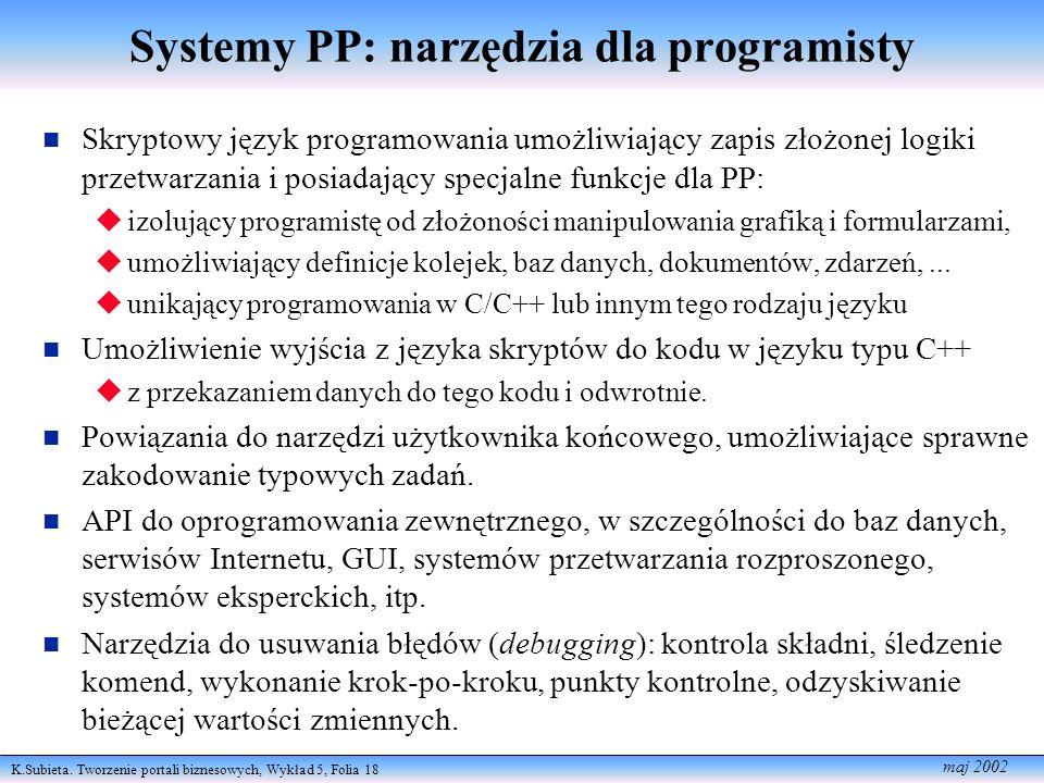 K.Subieta. Tworzenie portali biznesowych, Wykład 5, Folia 18 maj 2002 Systemy PP: narzędzia dla programisty Skryptowy język programowania umożliwiając