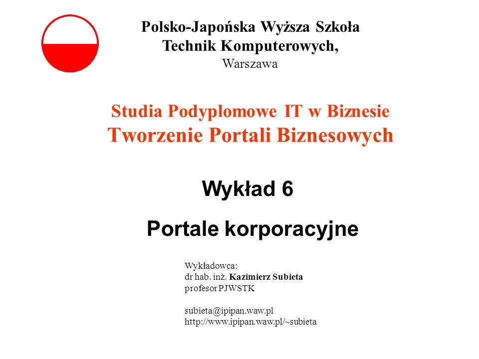 Studia Podyplomowe IT w Biznesie Tworzenie Portali Biznesowych Wykład 6 Portale korporacyjne Polsko-Japońska Wyższa Szkoła Technik Komputerowych, Wars