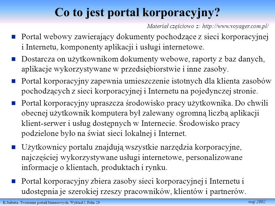 K.Subieta. Tworzenie portali biznesowych, Wykład 5, Folia 29 maj 2002 Co to jest portal korporacyjny? Portal webowy zawierający dokumenty pochodzące z