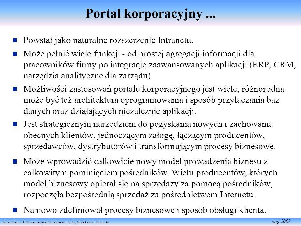 K.Subieta. Tworzenie portali biznesowych, Wykład 5, Folia 30 maj 2002 Portal korporacyjny... n Powstał jako naturalne rozszerzenie Intranetu. n Może p