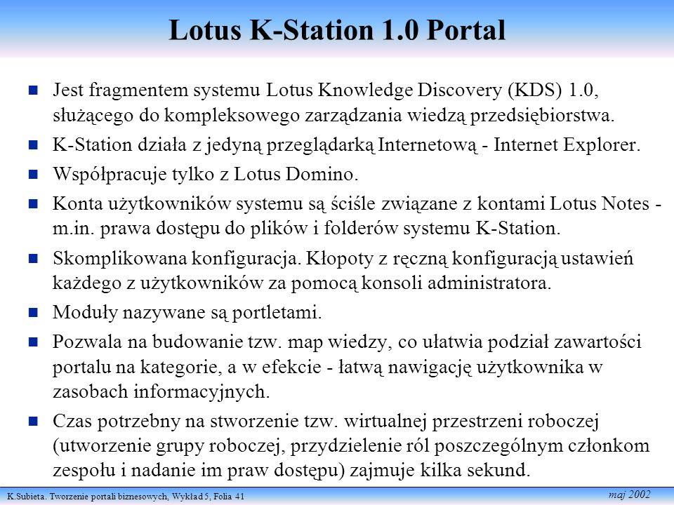 K.Subieta. Tworzenie portali biznesowych, Wykład 5, Folia 41 maj 2002 Lotus K-Station 1.0 Portal Jest fragmentem systemu Lotus Knowle dge Discovery (K