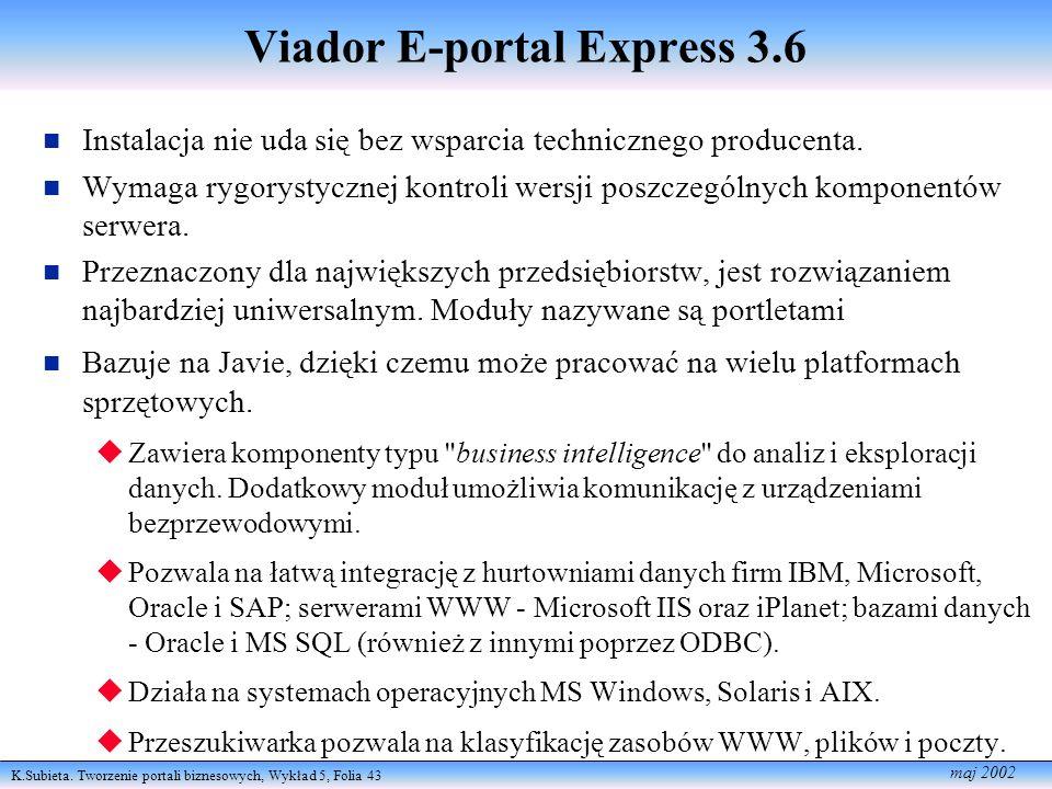 K.Subieta. Tworzenie portali biznesowych, Wykład 5, Folia 43 maj 2002 Viador E-portal Express 3.6 Instalacja nie uda się bez wsparcia technicznego pro