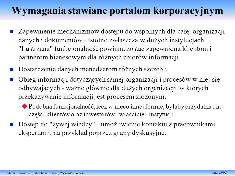 K.Subieta. Tworzenie portali biznesowych, Wykład 5, Folia 49 maj 2002 Wymagania stawiane portalom korporacyjnym Zapewnienie mechanizmów dostępu do wsp
