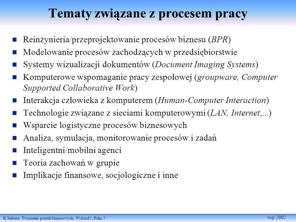 K.Subieta. Tworzenie portali biznesowych, Wykład 5, Folia 5 maj 2002 Tematy związane z procesem pracy Reinżynieria/przeprojektowanie procesów biznesu