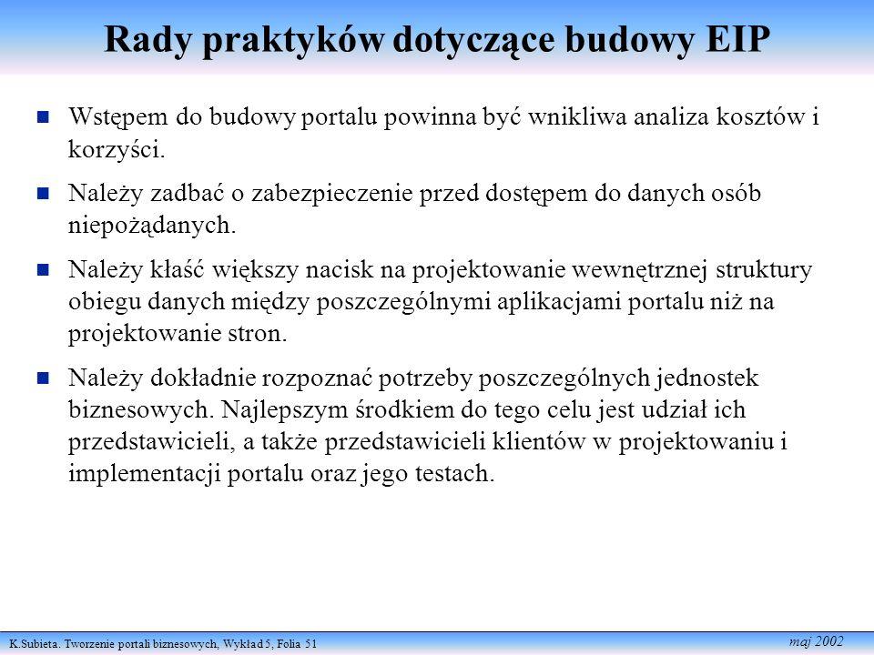 K.Subieta. Tworzenie portali biznesowych, Wykład 5, Folia 51 maj 2002 Rady praktyków dotyczące budowy EIP n Wstępem do budowy portalu powinna być wnik