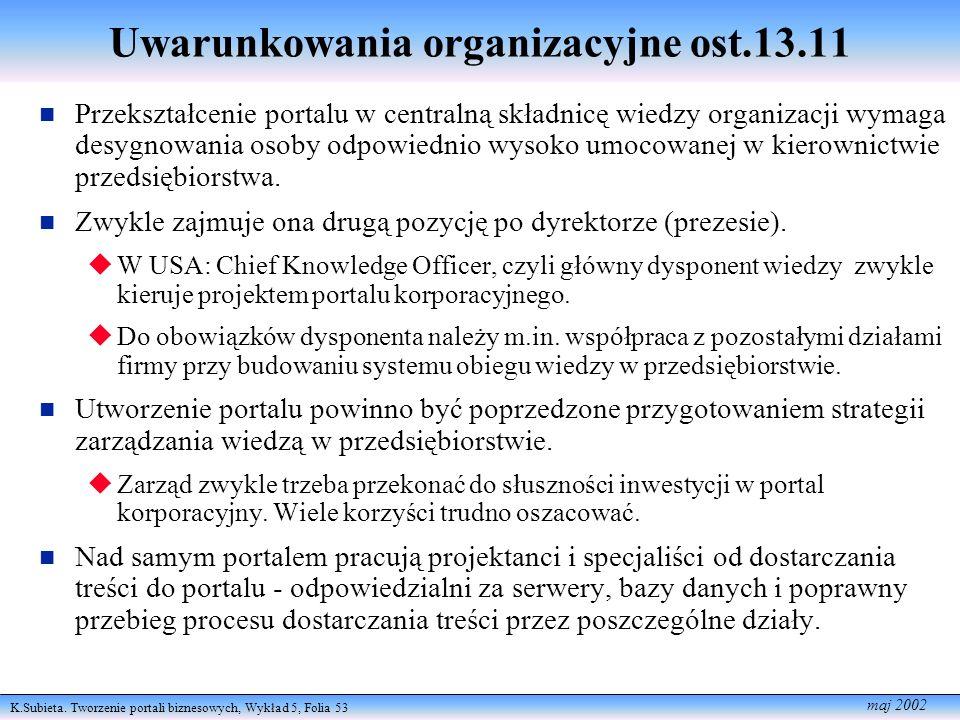 K.Subieta. Tworzenie portali biznesowych, Wykład 5, Folia 53 maj 2002 Uwarunkowania organizacyjne ost.13.11 n Przekształcenie portalu w centralną skła
