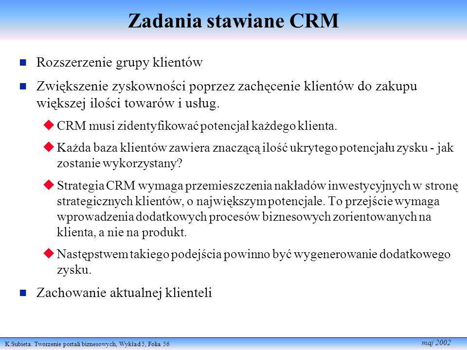 K.Subieta. Tworzenie portali biznesowych, Wykład 5, Folia 56 maj 2002 Zadania stawiane CRM Rozszerzenie grupy klientów Zwiększenie zyskowności poprzez