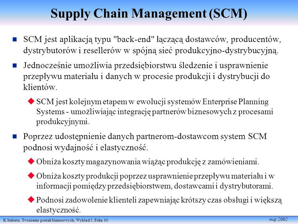 K.Subieta. Tworzenie portali biznesowych, Wykład 5, Folia 60 maj 2002 Supply Chain Management (SCM) SCM jest aplikacją typu