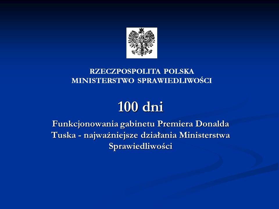 100 dni Funkcjonowania gabinetu Premiera Donalda Tuska - najważniejsze działania Ministerstwa Sprawiedliwości RZECZPOSPOLITA POLSKA MINISTERSTWO SPRAW