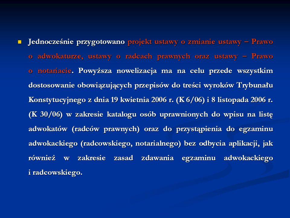 Jednocześnie przygotowano projekt ustawy o zmianie ustawy – Prawo o adwokaturze, ustawy o radcach prawnych oraz ustawy – Prawo o notariacie. Powyższa