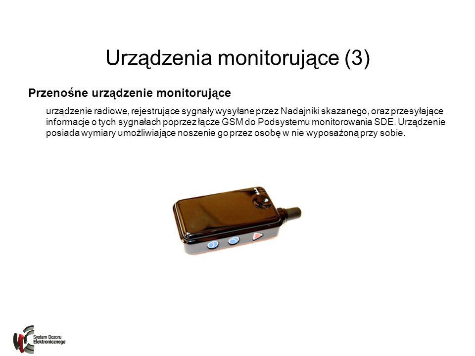Urządzenia monitorujące (3) Przenośne urządzenie monitorujące urządzenie radiowe, rejestrujące sygnały wysyłane przez Nadajniki skazanego, oraz przesy