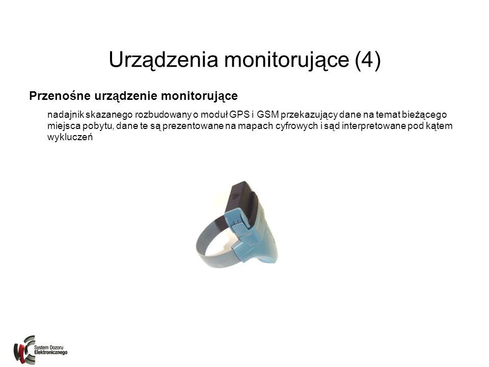Urządzenia monitorujące (4) Przenośne urządzenie monitorujące nadajnik skazanego rozbudowany o moduł GPS i GSM przekazujący dane na temat bieżącego mi