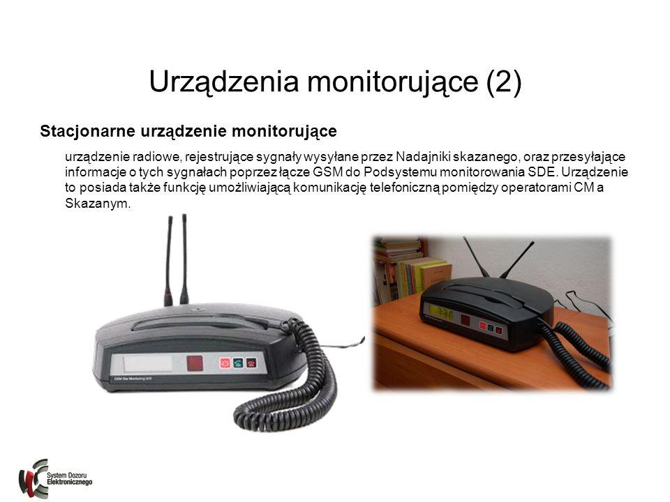 Urządzenia monitorujące (3) Przenośne urządzenie monitorujące urządzenie radiowe, rejestrujące sygnały wysyłane przez Nadajniki skazanego, oraz przesyłające informacje o tych sygnałach poprzez łącze GSM do Podsystemu monitorowania SDE.