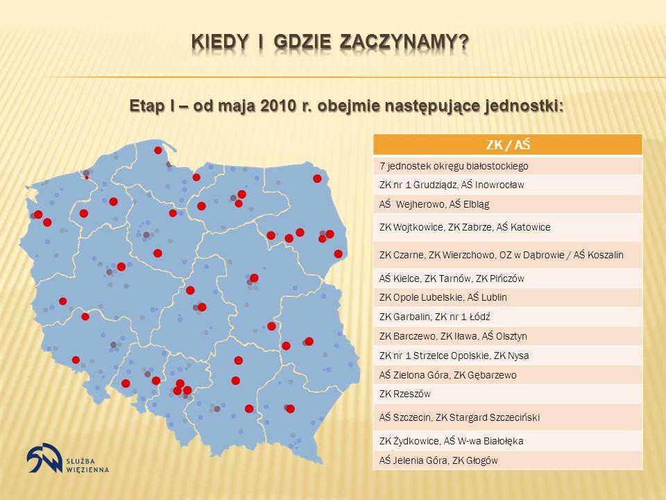 Etap I – od maja 2010 r. obejmie następujące jednostki: ZK / AŚ 7 jednostek okręgu białostockiego ZK nr 1 Grudziądz, AŚ Inowrocław AŚ Wejherowo, AŚ El