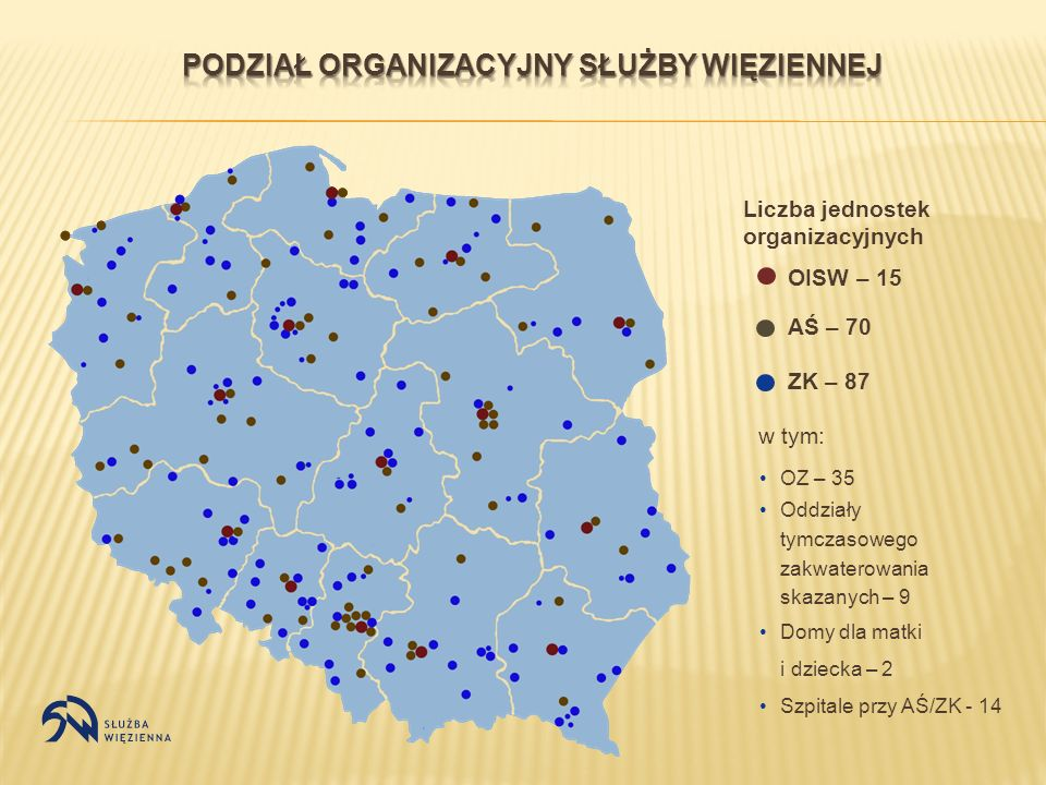 Liczba jednostek organizacyjnych OISW – 15 AŚ – 70 ZK – 87 OZ – 35 Oddziały tymczasowego zakwaterowania skazanych – 9 Domy dla matki i dziecka – 2 Szp