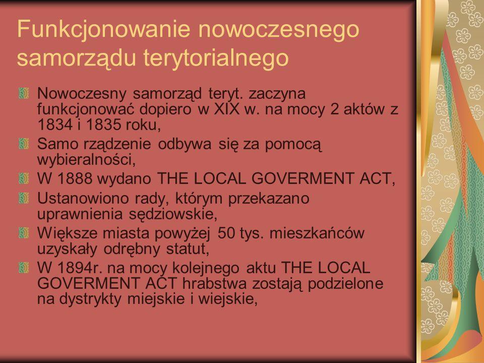 Funkcjonowanie nowoczesnego samorządu terytorialnego Nowoczesny samorząd teryt. zaczyna funkcjonować dopiero w XIX w. na mocy 2 aktów z 1834 i 1835 ro