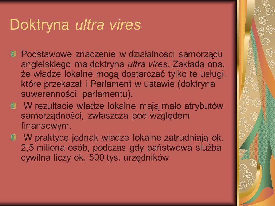Doktryna ultra vires Podstawowe znaczenie w działalności samorządu angielskiego ma doktryna ultra vires. Zakłada ona, że władze lokalne mogą dostarcza