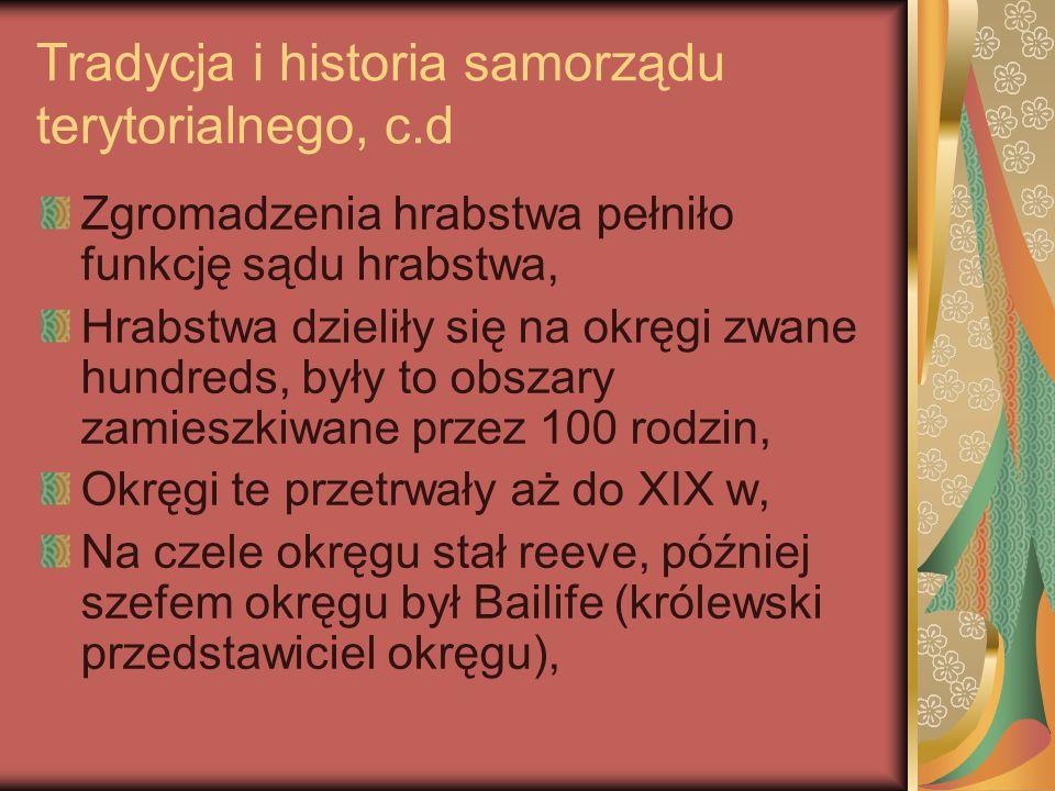 Tradycja i historia samorządu terytorialnego, c.d W poł.
