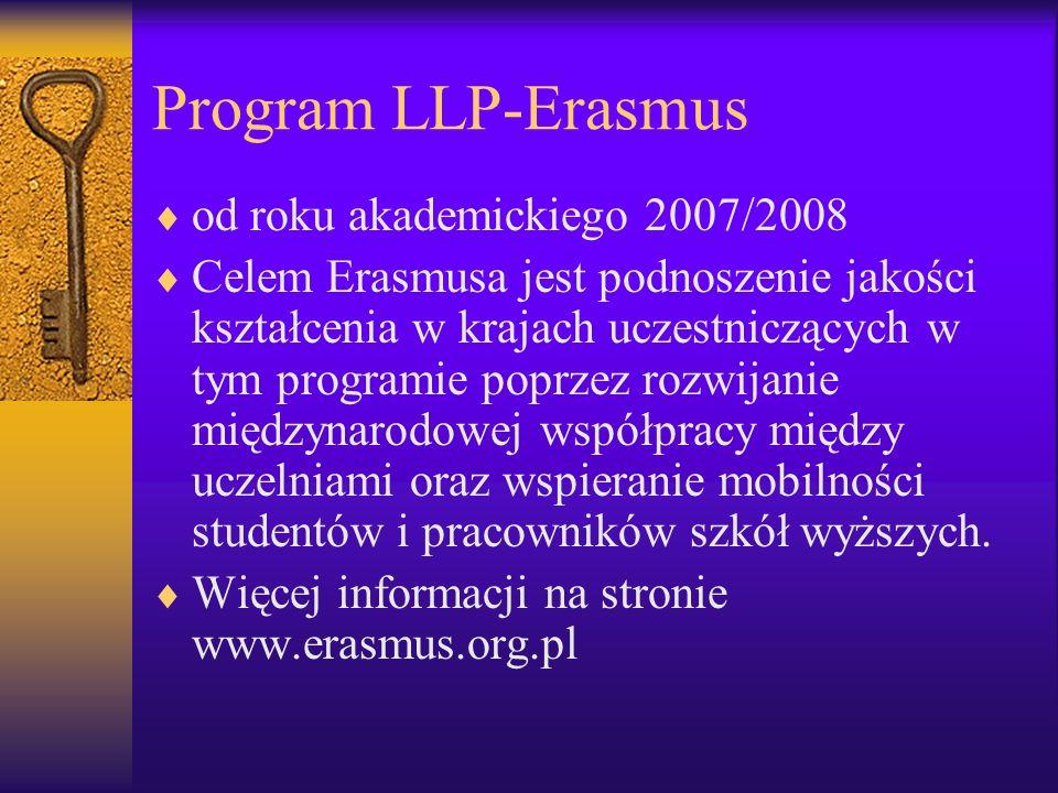 Program LLP-Erasmus od roku akademickiego 2007/2008 Celem Erasmusa jest podnoszenie jakości kształcenia w krajach uczestniczących w tym programie popr