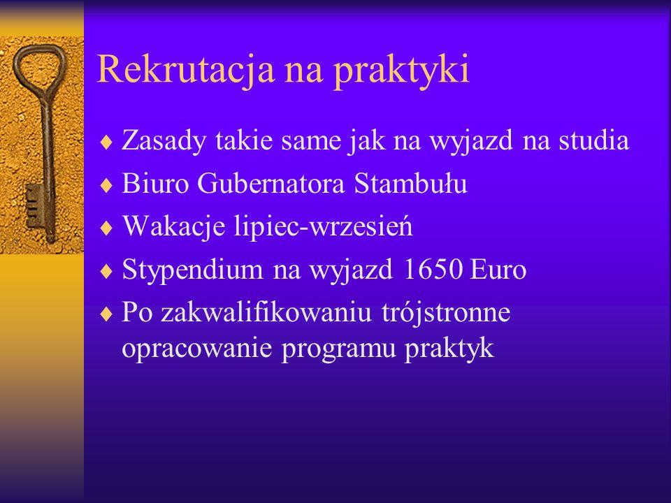 Rekrutacja na praktyki Zasady takie same jak na wyjazd na studia Biuro Gubernatora Stambułu Wakacje lipiec-wrzesień Stypendium na wyjazd 1650 Euro Po