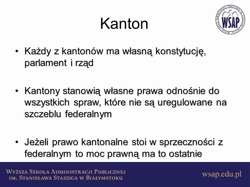Kanton Każdy z kantonów ma własną konstytucję, parlament i rządKażdy z kantonów ma własną konstytucję, parlament i rząd Kantony stanowią własne prawa