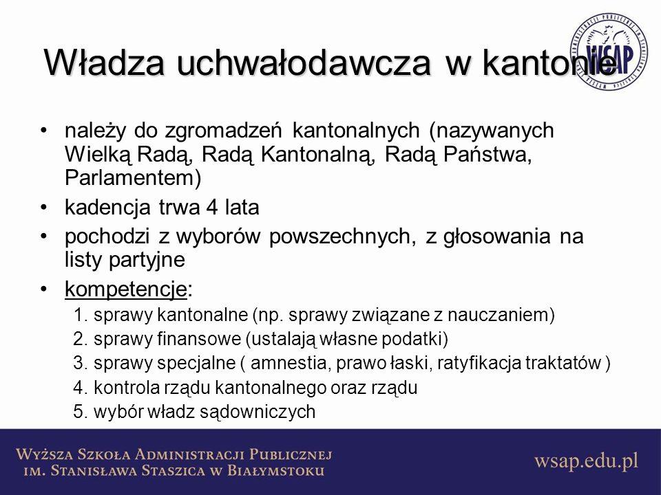 Władza uchwałodawcza w kantonie należy do zgromadzeń kantonalnych (nazywanych Wielką Radą, Radą Kantonalną, Radą Państwa, Parlamentem) kadencja trwa 4