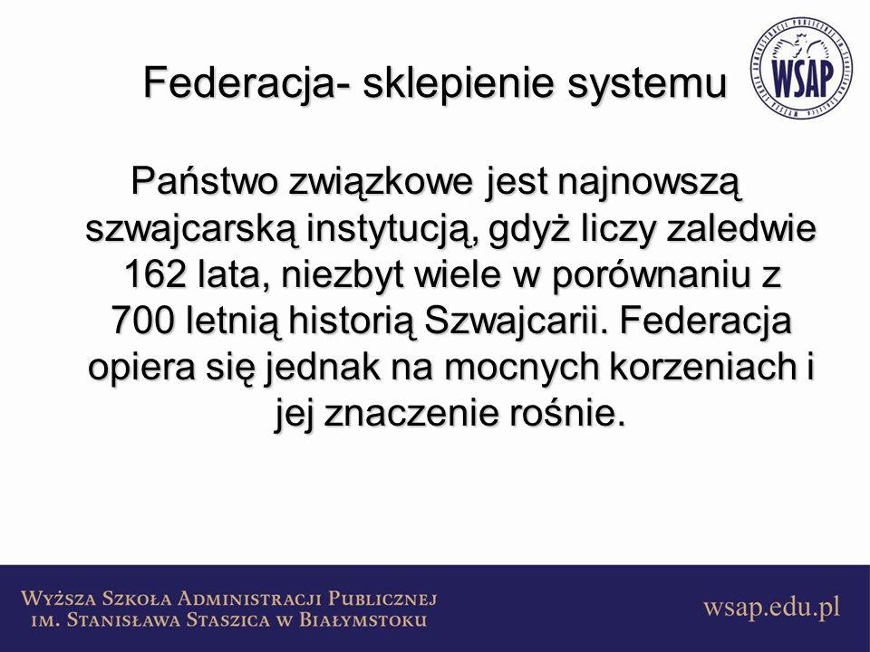 Federacja- sklepienie systemu Państwo związkowe jest najnowszą szwajcarską instytucją, gdyż liczy zaledwie 162 lata, niezbyt wiele w porównaniu z 700