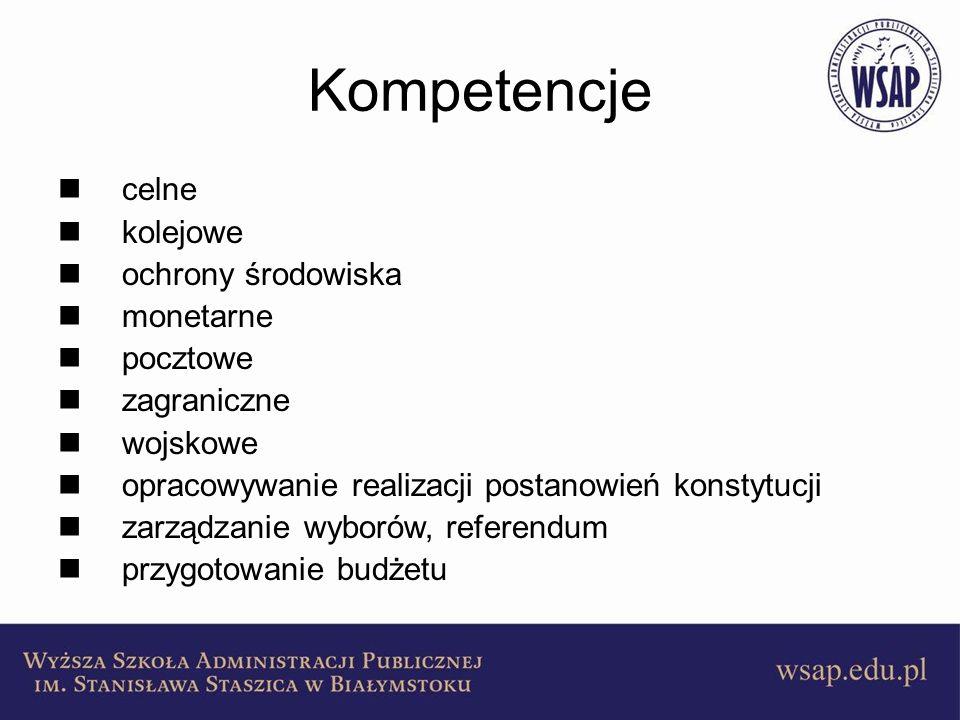 Kompetencje celne kolejowe ochrony środowiska monetarne pocztowe zagraniczne wojskowe opracowywanie realizacji postanowień konstytucji zarządzanie wyb