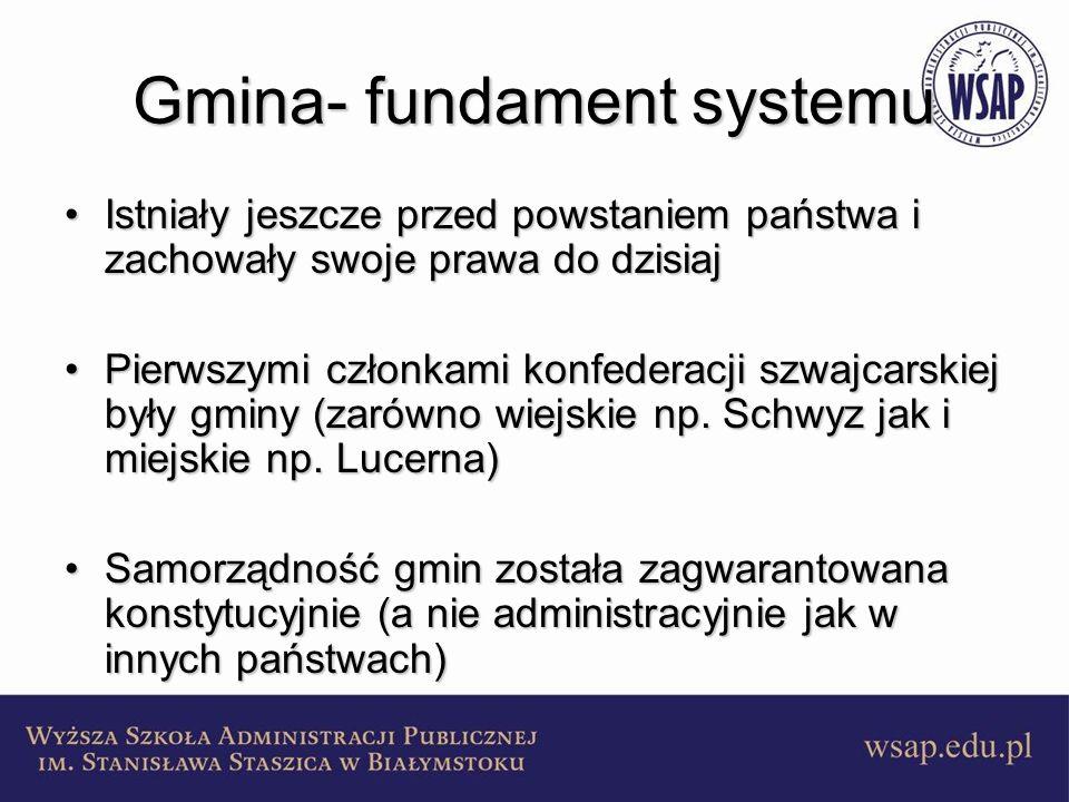 Gmina- fundament systemu Istniały jeszcze przed powstaniem państwa i zachowały swoje prawa do dzisiajIstniały jeszcze przed powstaniem państwa i zacho