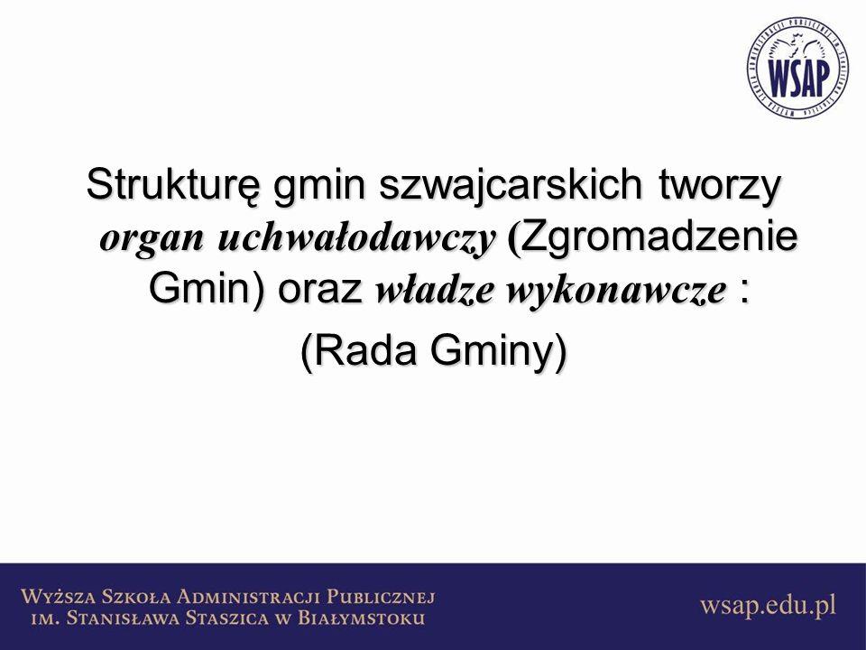 Zgromadzenie Gminy organ najważniejszy ( uchwałodawczy )organ najważniejszy ( uchwałodawczy ) w skład wchodzą wszyscy uprawnieni do głosowania obywatele gminyw skład wchodzą wszyscy uprawnieni do głosowania obywatele gminy kompetencje:kompetencje: 1.uchwalenie budżetu i zatwierdzanie jego wykonania, 2.uchwalanie podatków, 3.uchwalanie projektów zarządzeń o charakterze ogólnym, 4.przyjmowanie sprawozdań z działalności organów gminy, 5.wybieranie władz gminy, 6.udzielanie zezwoleń na zaciąganie pożyczek, 7.prowadzenie procesu, 8.decydowanie o przyznawaniu obywatelstwa cudzoziemcom