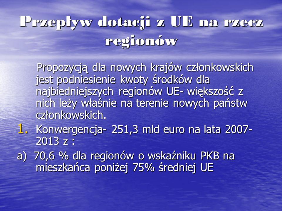 Przepływ dotacji z UE na rzecz regionów Propozycją dla nowych krajów członkowskich jest podniesienie kwoty środków dla najbiedniejszych regionów UE- w