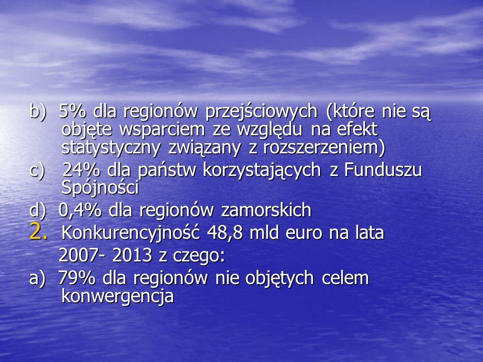 b) 5% dla regionów przejściowych (które nie są objęte wsparciem ze względu na efekt statystyczny związany z rozszerzeniem) c) 24% dla państw korzystaj