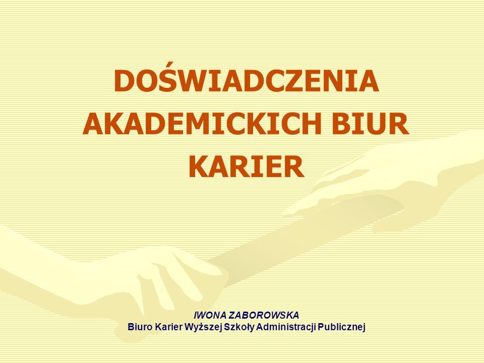 DOŚWIADCZENIA AKADEMICKICH BIUR KARIER IWONA ZABOROWSKA Biuro Karier Wyższej Szkoły Administracji Publicznej