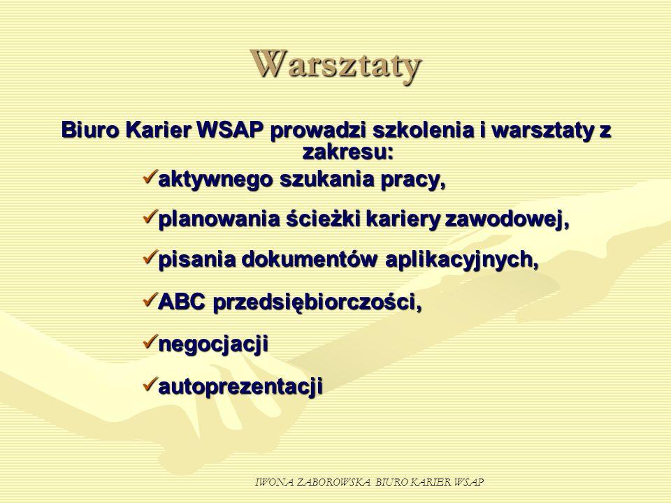 IWONA ZABOROWSKA BIURO KARIER WSAP Warsztaty Biuro Karier WSAP prowadzi szkolenia i warsztaty z zakresu: aktywnego szukania pracy, planowania ścieżki