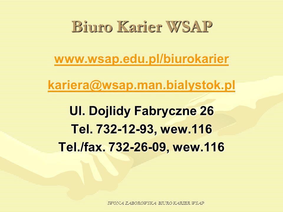 IWONA ZABOROWSKA BIURO KARIER WSAP Biuro Karier WSAP www.wsap.edu.pl/biurokarier kariera@wsap.man.bialystok.pl Ul. Dojlidy Fabryczne 26 Tel. 732-12-93