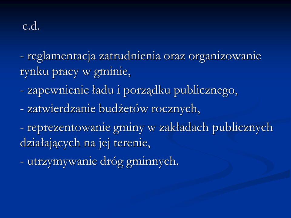 c.d. - reglamentacja zatrudnienia oraz organizowanie rynku pracy w gminie, - zapewnienie ładu i porządku publicznego, - zatwierdzanie budżetów rocznyc