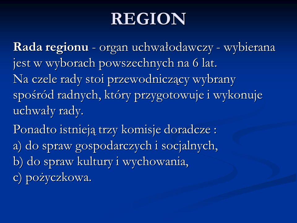 REGION Rada regionu - organ uchwałodawczy - wybierana jest w wyborach powszechnych na 6 lat. Na czele rady stoi przewodniczący wybrany spośród radnych
