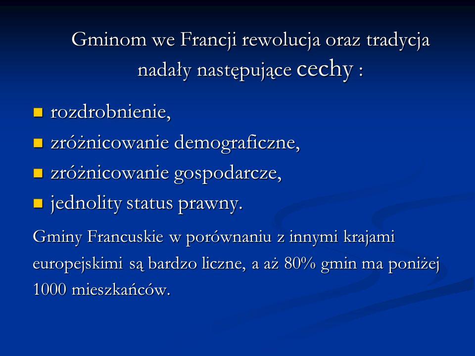 Gminom we Francji rewolucja oraz tradycja nadały następujące cechy : rozdrobnienie, rozdrobnienie, zróżnicowanie demograficzne, zróżnicowanie demograf