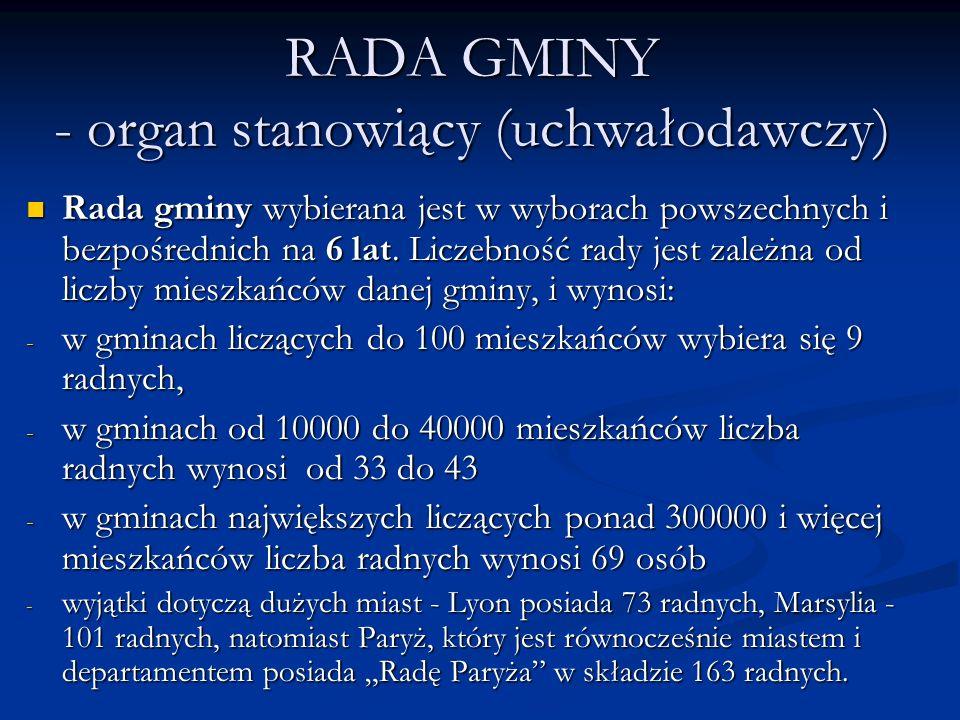 RADA GMINY - organ stanowiący (uchwałodawczy) Rada gminy wybierana jest w wyborach powszechnych i bezpośrednich na 6 lat. Liczebność rady jest zależna