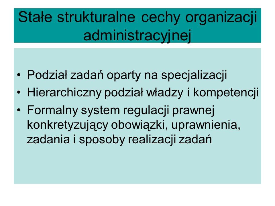 Stałe strukturalne cechy organizacji administracyjnej Podział zadań oparty na specjalizacji Hierarchiczny podział władzy i kompetencji Formalny system