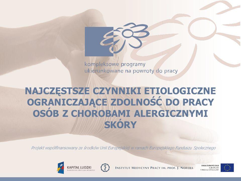 TESTY PŁATKOWE Dodatnie wyniki testów płatkowych Przykładowy zestaw alergenów do badania uczulenia kontaktowego