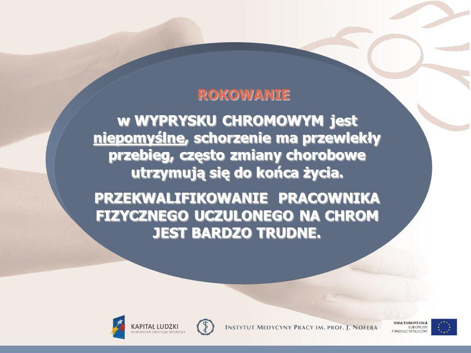 ROKOWANIE ROKOWANIE w WYPRYSKU CHROMOWYM jest niepomyślne, schorzenie ma przewlekły przebieg, często zmiany chorobowe utrzymują się do końca życia.