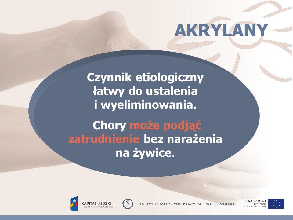 AKRYLANY Czynnik etiologiczny łatwy do ustalenia i wyeliminowania.