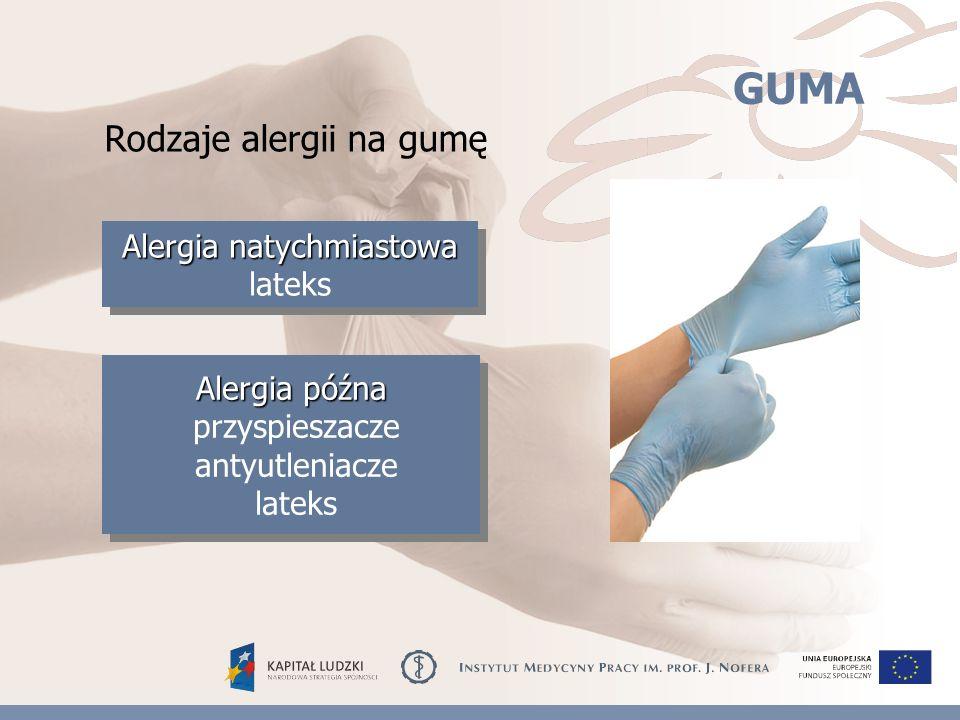 GUMA Rodzaje alergii na gumę Alergia natychmiastowa Alergia natychmiastowa lateks Alergia późna przyspieszacze antyutleniacze lateks Alergia późna przyspieszacze antyutleniacze lateks