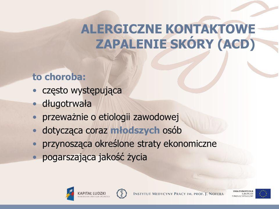 WSKAZANIA DO PRZEPROWADZENIA KONTROLNYCH TESTÓW NASKÓRKOWYCH Nasilenie procesu chorobowego Brak istotnego postępu terapeutycznego Kwalifikowanie do pracy w okresie remisji klinicznej, w celu określenia utrzymywania się alergii kontaktowej